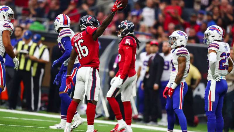 Lufkin native Keke Coutee motions for a first down in the Texans win Sunday against Buffalo.
