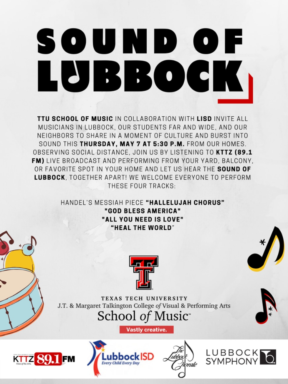 Musicians and performers are asked to join in during the Sound of Lubbock at 5:30 p.m. May 7.