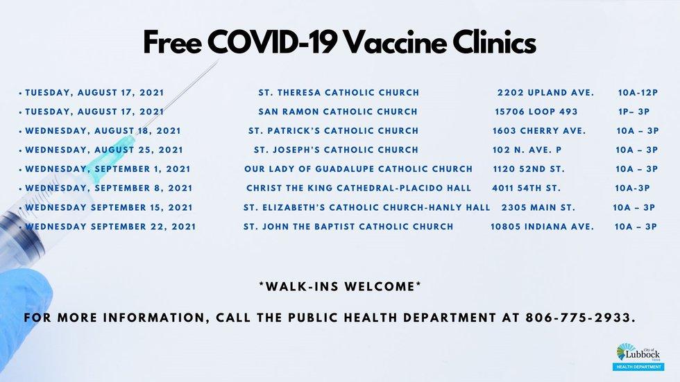 Free COVID vaccine clinics through Sept. 17