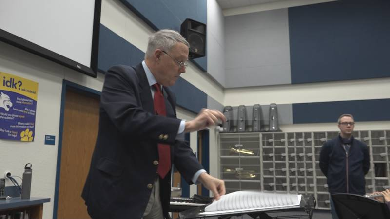 Retired Army Band Director, Colonel Thomas Palmatier at Heritage Middle School