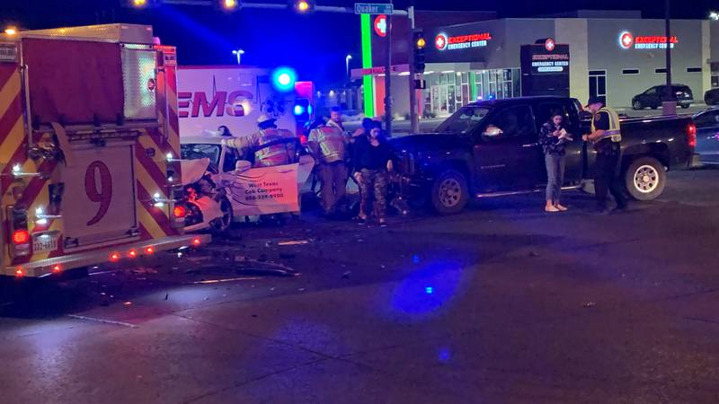 Two people suffered moderate injuries in a Sunday evening crash at 50th & Quaker.
