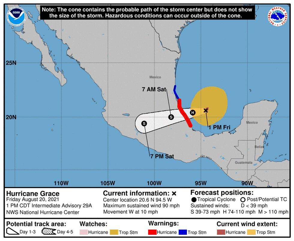 Forecast track for Hurricane Grace