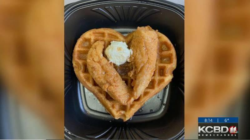 Slim Chickens Valentines Chicken and Waffles