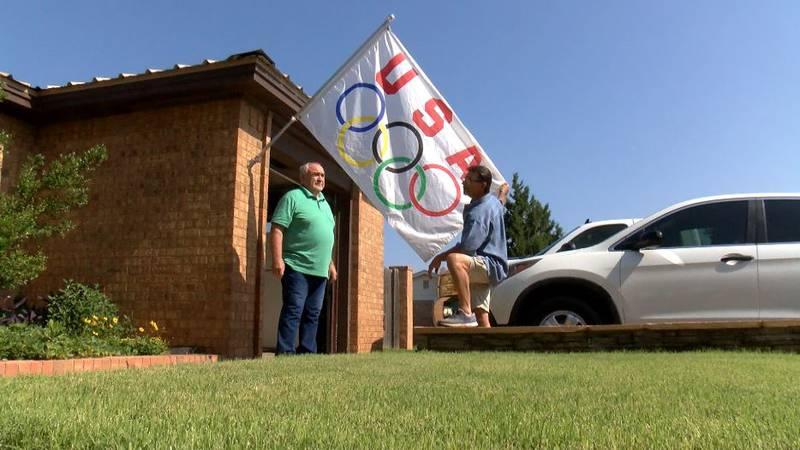 David Jones flies his Olympic flag for the Tokyo 2020 Games