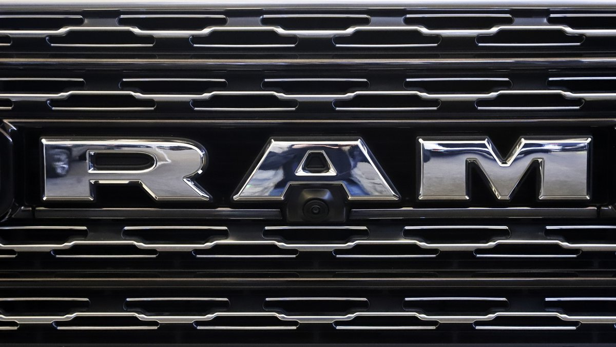 This Feb. 14, 2019, file photo shows the Ram logo on the front grill of a Ram 1500 at the 2019...