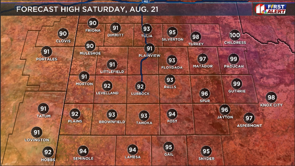 Forecast high Saturday afternoon