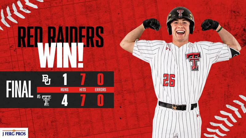 Texas Tech baseball bounced back after their game one loss against Baylor, with a 4-1 win in...