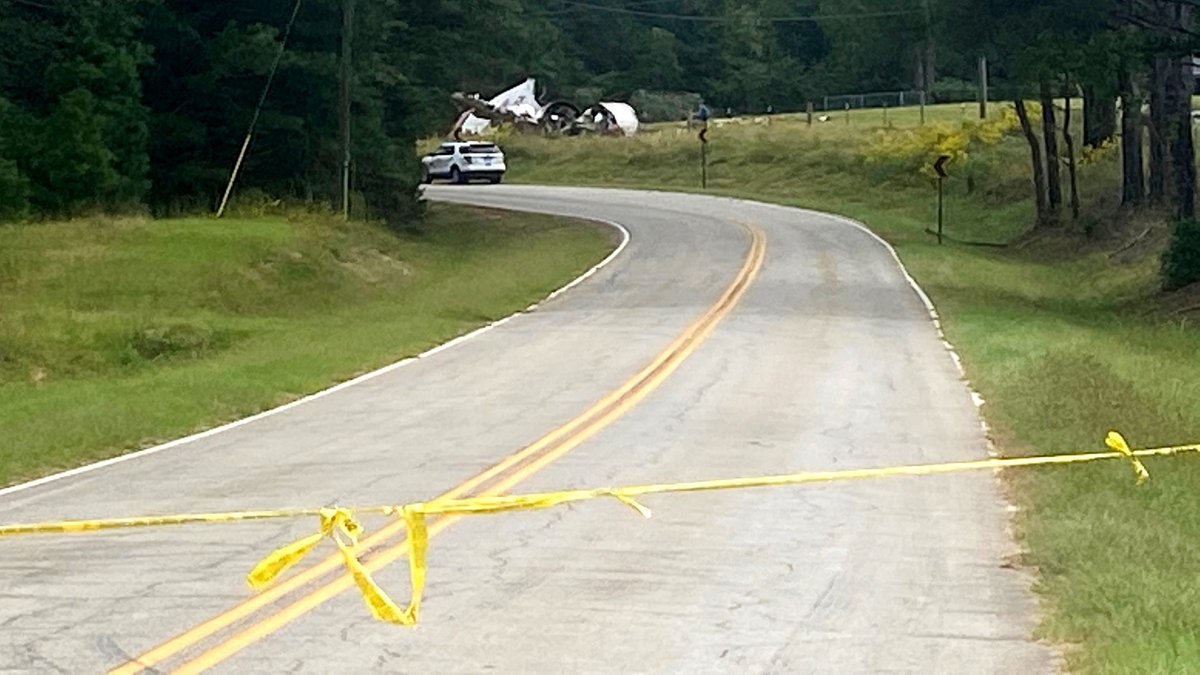 A crashed plane's fuselage can be seen on Oct. 5, 2021, in McDuffie County.