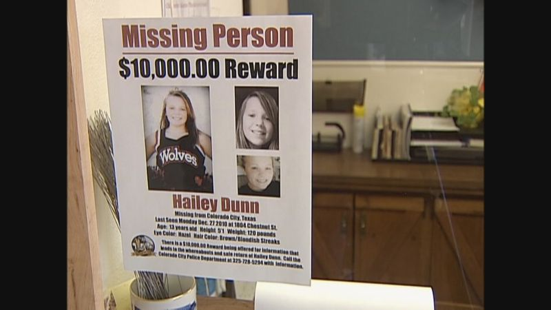 File: A photo shows a missing person poster after the disappearance of Hailey Dunn in 2010.