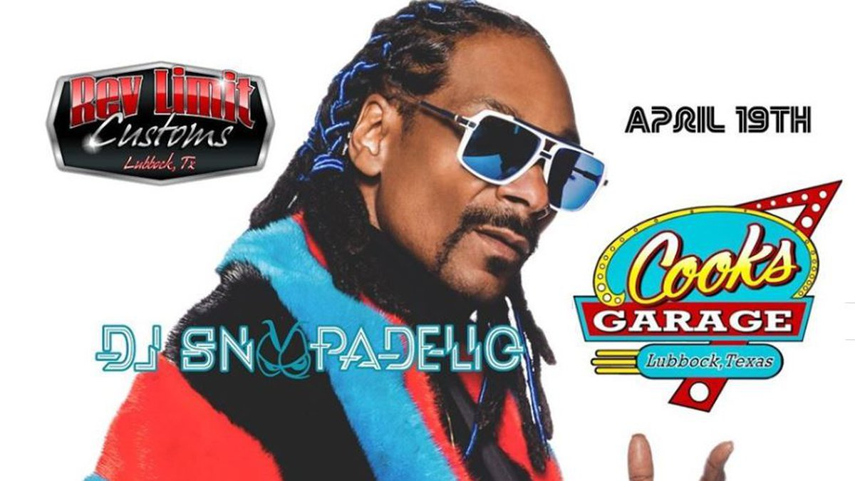 Snoop Dogg to perform at Cook's Garage in Lubbock as DJ Snoopadelic on April 19, 2020.