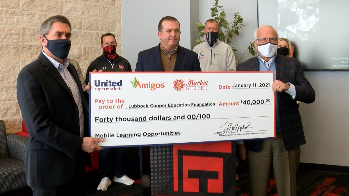 United Supermarkets donates $40,000 to Lubbock-Cooper ISD to help with technology and mobile...