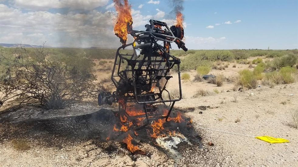 8-year-old Natalie Baker's UTV goes up in flames after being hit by truck (Source: Jennifer and...