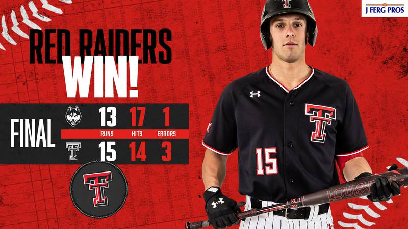 Texas Tech baseball secures the series win with a high scoring 15-13 win over UConn in game...