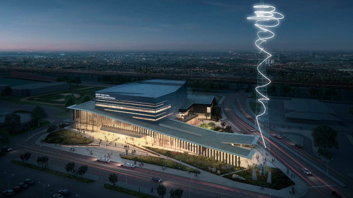An artist rendering shows an exterior view off the upcoming Buddy Holly Hall. Tickets for the...