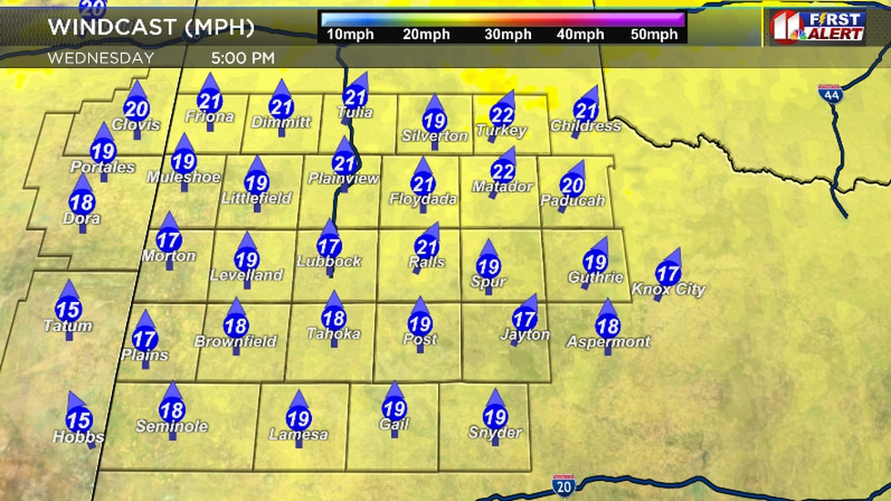 Projected wind speed Wednesday afternoon.