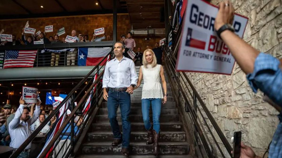 Texas Land Commissioner George P. Bush announces his candidacy for Attorney General at an event...